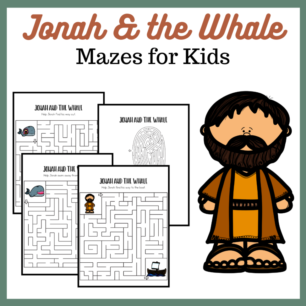 These Jonah and the Whale mazes are a great follow-up to the Jonah and the Whale story in your Sunday School, homeschool, or Christian school lessons.