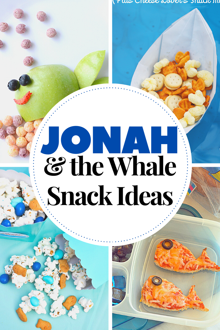 These Jonah and the Whale snack ideas are perfect for homeschool Bible lessons, Sunday School snacks, and ocean themed parties!
