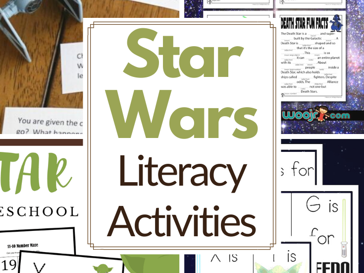 These Star Wars literacy activities are great for kids ages 4-12! Add them to your Star Wars Day activities or use them any day!