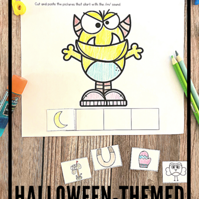 Halloween Beginning Sounds Cut and Paste Worksheets