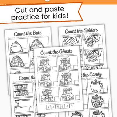 Halloween Counting Cut and Paste Worksheets